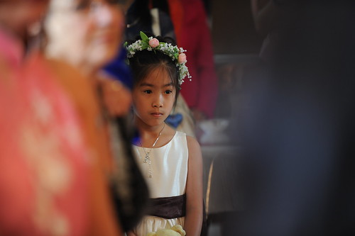 My cousin, the flower girl, watching