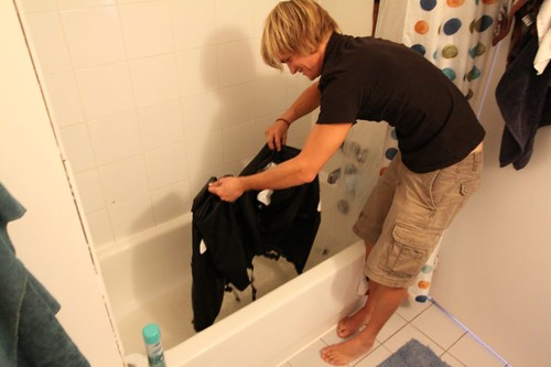 Washing my Ortlieb bike bags...