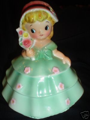 PY/Ucagco Girl Cookie Jar in Green