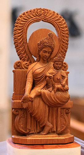 "Sandalwood, ""Woman Enthroned"", made in India, from the collection of the Marianum, photographed at the Cathedral of Saint Peter, in Belleville, Illinois, USA"