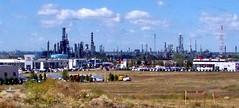 edm09h041 Edmonton Refineries from Sherwood Park, Alberta 2009 (CanadaGood) Tags: blue canada color colour industry industrial edmonton ab alberta toyota hyundai refinery 2009 sherwoodpark 2000s oilandgas canadagood