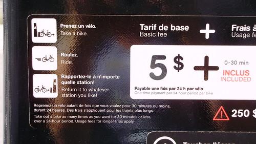 rental bike vending in Montreal