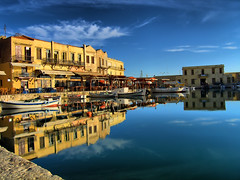 Rethymno old harbour hdr (Theophilos) Tags: sea sky reflection boats greece crete 1001nights hdr rethymno oldharbour