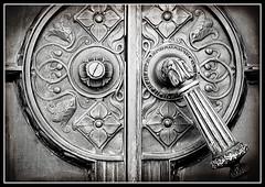 Ornate Handle (StuffNThings) Tags: door blackandwhite ornate