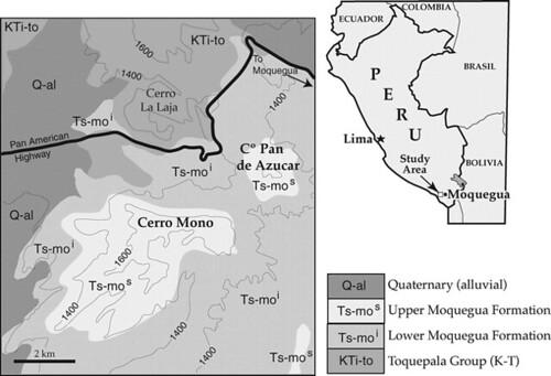 Adapted from Bellido and Guevara 1961 Mapa Geológico del Cuadrángulo de Clemensí. Perú