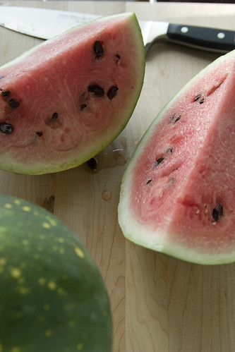 Quartered watermelon
