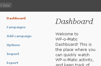 WP-O-Matic admin mini screenshot