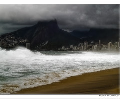 stormy waves (Jordan_K) Tags: city sea brazil storm praia beach colors beautiful riodejaneiro photography cool flickr waves mood scenic blues jordan monica feeling ipanema surfin rdj