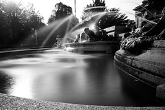 Victoria Rooms Fountain, Bristol - ND110 (Mathew Roberts) Tags: uk england blackandwhite bw monochrome photoshop canon bristol eos rebel mono angle britain great wide roberts mathew density neutral cs4 10mm xti 400d nd110 eos400d mathewroberts