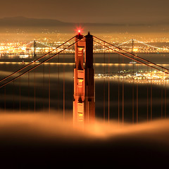 Golden Gate and Bay Bridges (Rob Kroenert) Tags: sanfrancisco california ca bridge usa fog night dawn golden bay gate san francisco long exposure marin bridges goldengatebridge baybridge headlands marinheadlands