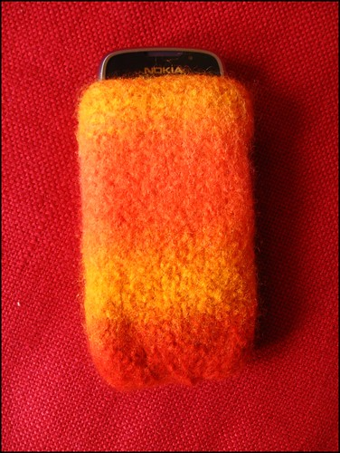 handknitted and felted mobile phone cozy