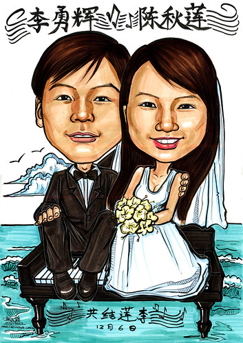 Wedding couple caricatures on grand piano A4