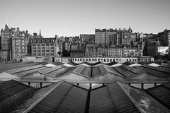 Edinburgh (Surely Not) Tags: city roof bw white black station scotland nikon edinburgh center moo and waverly d700 yourphototips thephotoproject