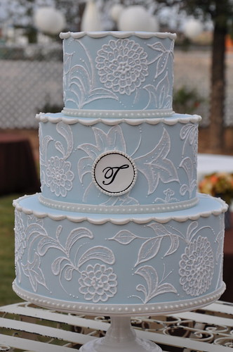Vintage Inspired Wedding Cake w Monogram Light blue cake with white royal