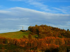 Telephone masts near Glenfarg (B4bees) Tags: autumn trees leaves mobile scotland countryside photo community village seasons postcard perthshire mast colourful hilltop glenfarg arborial brianforbes