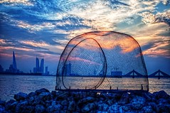 Fish trap sunset