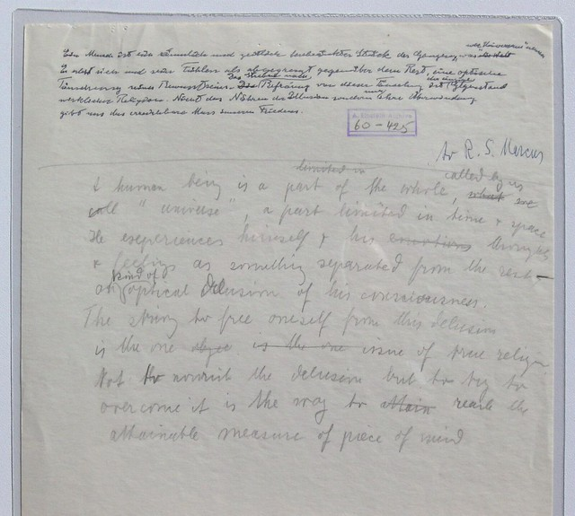Handwritten Draft of Albert Einstein's Letter to Robert S. Marcus (February 12, 1950)