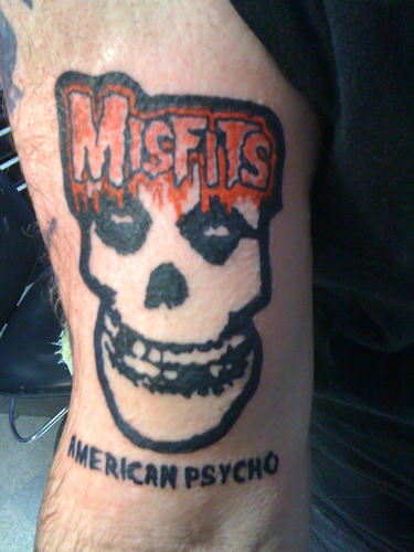 Misfits American Psycho Tattoo by Wes Fortier. www.myspace.com/wesDTC
