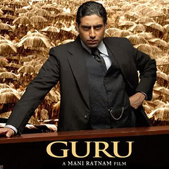 [Poster for Guru with Guru, Abhishek Bachchan, Aishwarya Rai, Mani Ratnam]