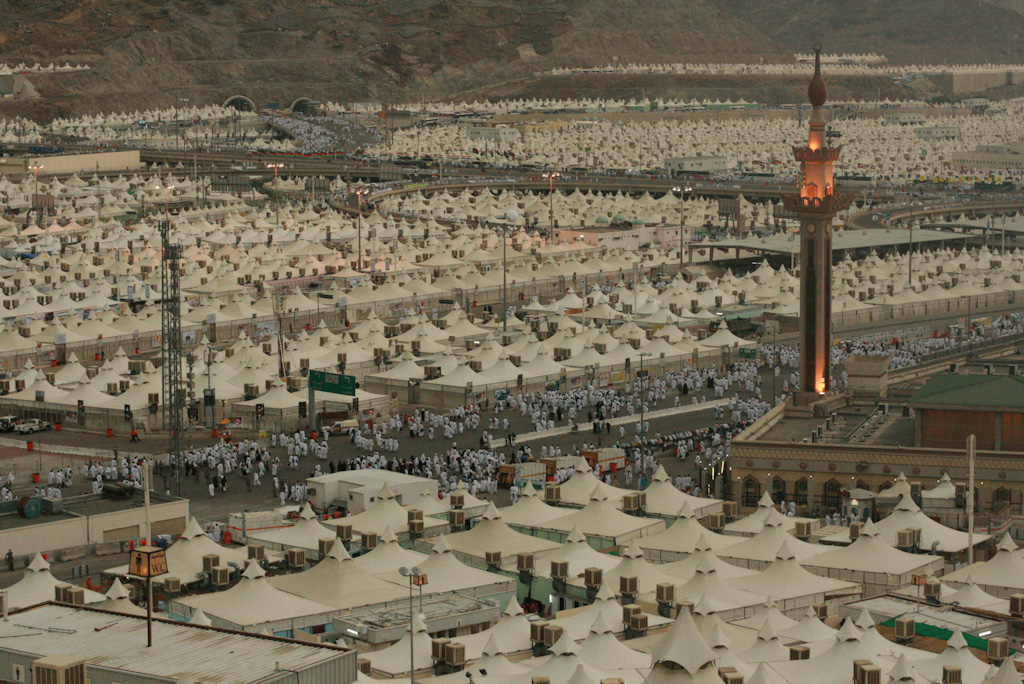 Hajj, Pilgrims, Mecca, White tents as far as the eye can see