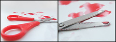 Crime scene. (JemmaJusticePhotography.) Tags: camera red food colour digital justice blood scene scissors crime finepix fujifilm colouring jemma s6500fd jemmysaur jemmaammej