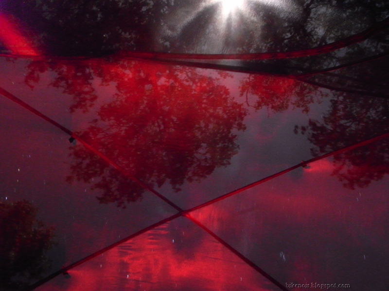Nemo Losi Tent, Red Lamp, White Moon, Stars, Trees