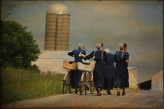 """The Amish Way"" (tammy_grooms) Tags: girls ohio texture walking farm country silo amish bicycles cap barefoot amishcountry rearviewmirrorshot canonrebelxs ruralohio bluedresses pikeco ohiofoothills tammygrooms lenabemanna brierroad"
