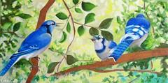 The Blue Jays (YokosGallery) Tags: portrait abstract green art leaves birds bronze painting acrylic branch originalpainting canvas bluejays etsy wildbirds yokosgallery