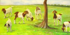 Seven Goats (YokosGallery) Tags: sky tree green art field grass animal painting landscape countryside texas originalpainting canvas goats pasture etsy oilpainting yokosgallery