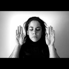 [153-365] Learning in progress (Sasha Natasha) Tags: portrait blackandwhite bw white black girl face hands letters 365days