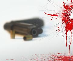Suicide is Painless (Yaniv Ben Simon) Tags: broken glass design israel telaviv scary blood gun shoot arms pistol bullet revolver handgun breaking cartridge shattering yanivbensimon wwwybscoil theflashofasoul