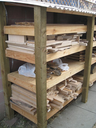 scrap alder and plywood on log drying shelves