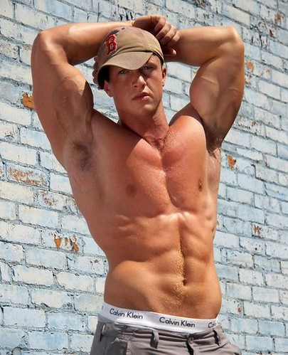 sexy muscle fitness male model hot shirtless hunk with hat