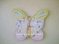 relogio borboleta (Imer atelie) Tags: verde branco minas rosa borboleta decorao pintura mdf lilas colorido uberaba dourados arabesco ponteiros imeratelie decoraoquartobebe