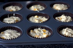 peach cupcakes, ready to bake