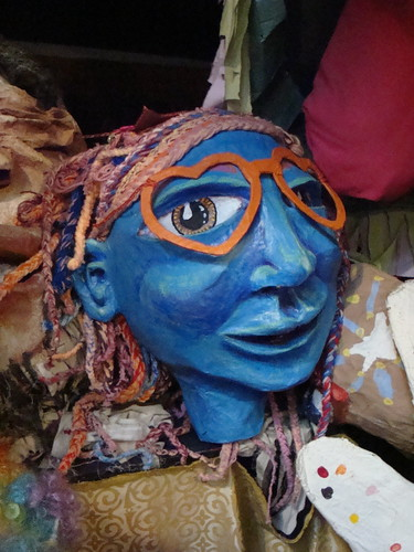 blue lady, giant puppet