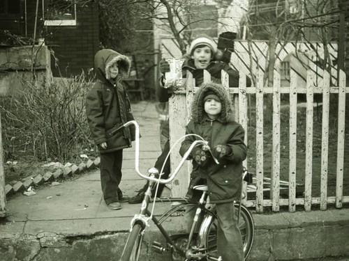 Boys hanging out banana seat bicycle 1975 B&W Slide