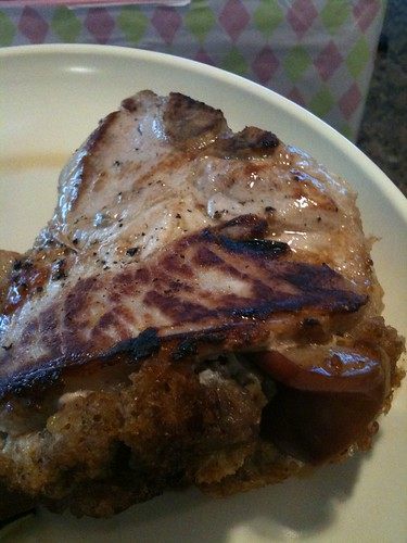 Making apple stuffed pork chops