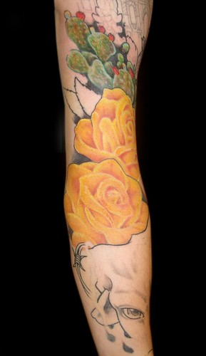 James Danger Freehand yellow rose Painful Pleasures Tattoo Sacramento ca