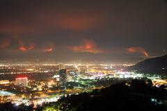 "The La Caada Flintridge ""Station fire"" as viewed from Mulholland Drive in Los Angeles. Most of the brush has not burned in 60 years. (kjdrill) Tags: california usa station clouds forest fire drive la losangeles bravo shot nightshot angeles smoke crest best southern national fires 2009 mulholland firestorm viewed flintridge lacanada wildfires theme citrit 700faves sky 996a"
