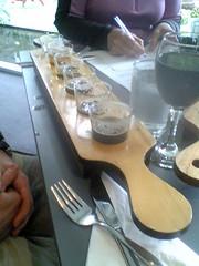 Cascade Brewery beer tasting board