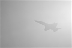 camouflage mode... ON! (Toni_V) Tags: bw grey schweiz switzerland blackwhite suisse military grau airshow hornet boeing swissarmy 70300mm 2009 fa18 d300 flugschau axalp boeingfa18hornet toniv axalpebenfluh 091007 dsc3650 fliegerstaffel18