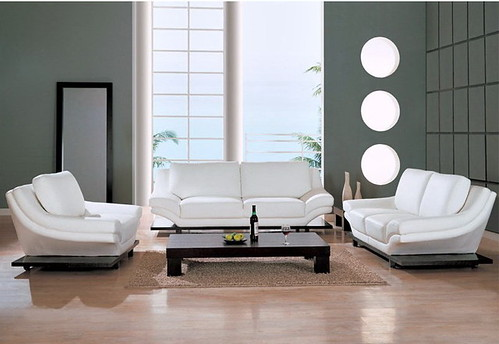 Braden Leather Match Sofa Set