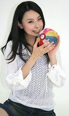 fusen* feeling fine from favor (emotiroi auranaut) Tags: woman playing cute colors beauty face japan lady female ball hair fun happy sweater nice model asia pretty play feminine balloon adorable happiness babe lovely charming playful delightful allure kamifusen