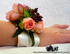 pink-rose-wrist-corsage (Blossom Wedding Flowers) Tags: red white black green coffee beauty rose moss berries lily calla antique maroon gothic ivy earthy romantic casablanca lillies birch twigs helleborus freesia woodsy viburnum metalina