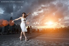 City ballet (Konstantin Sutyagin) Tags: city travel blue sky people urban ballet woman white girl clouds happy hongkong dance twilight dusk space dramatic dancer hong kong copyspace copy caucasian ballerine