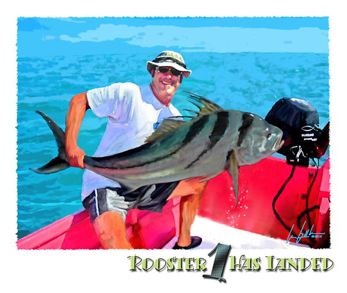 Mike Savlen, fab marine sporting artist, lands his first roosterfish; a big, old buck;