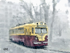 Tram in the rain (piker77) Tags: street urban painterly art rain digital photoshop watercolor painting interesting spain media natural aquarelle digitale transport tram manipulation simulation peinture illusion virtual watercolour transparent acuarela tablet technique wacom stylized pintura imitation  aquarela aquarell emulation malerei pittura virtuale virtuel naturalmedia urbanpics    piker77wc arthystorybrush