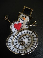 A happy snowman!! (woolly  fabulous) Tags: wool snowman pin recycled handmade brooch felt zipper embroidered ecofriendly frenchknots