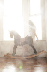 misty days. (gingerlillytea) Tags: wood horse sun window girl smoke flare rocking rockinghorse nightie